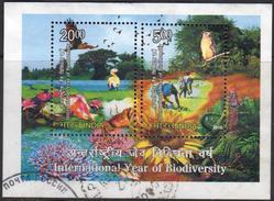 India 2010  MS  Used International Year Of Biodiversity Birds Flowers Lotus