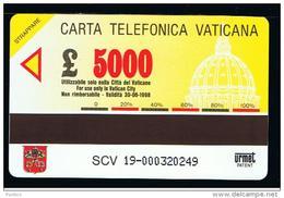 07 - VATICANO - TESSERA TELEFONICA NO. 19  NUOVA