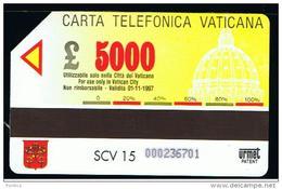07 - VATICANO - TESSERA TELEFONICA NO. 15  USATA