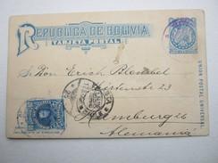 1906 , Ganzsache Mit Rs. Bildzudruck , Nach Hamburg Verschickt - Bolivia