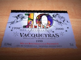 Etiquette Vin Wine Label Nouvel An Nouveau Millénaire New Millenium Vacqueyras 1990 2000 10ans Ange Angel Engel - New Millennium/Year 2000