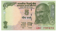 INDIA 5 RUPEES 2009 Pick 94A Unc - Nepal