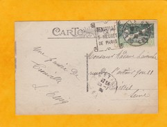 """1924 - Flamme Daguin Ornée """"Deauville à 3 H De Paris""""  Sur CP Vers Créteil  - T. 8e Olympiade - Port De Trouville - Storia Postale"""