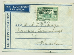 Nederlands Indië - 1935 - 42,5 Cent Opdruk Op 75 Cent LP-zegel Van Malang Naar Haarlem / Nederland