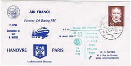 Aérophilatélie - 1er Vol (Boeing 747 - Air France) Hanovre / Paris - 16 Avr 75