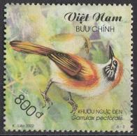 3116 Viet Nam 2002 Uccelli Birds Garrulax Pectoralis Garrulo Sghignazzante Dal Collare Maggiore Used