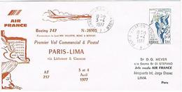 Aérophilatélie - 1er Vol (Boeing 747 - Air France) Paris / Cayenne / Manaus / Lima - 03 & 04 Avril 77