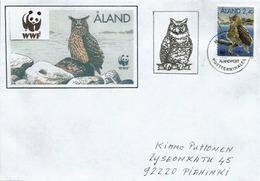 Hibou Grand Duc Des îles Aland, Sur Lettre Adressée Finlande - Gufi E Civette