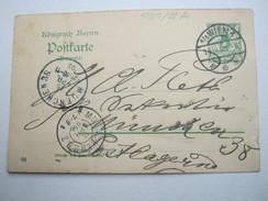 1902 , Bahnpost Stempel München - Würzburg , Klarer Stempel Auf Kartenbrief