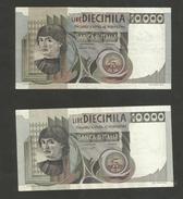 ITALIA - BANCA D'ITALIA - 10000 Lire DEL CASTAGNO  (Firme: Baffi / Stevani - Ciampi / Stevani ) LOTTO Di 2 Banconote - [ 2] 1946-… : Repubblica