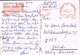 Portugal 1974 Postal Cover Funchal (Madeira- Zürich (Switzerland) - Meter Stamp Savoy Hotel