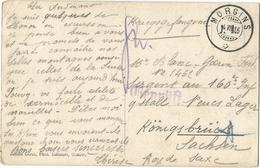 HELVETIA SUISSE MORGINS 1916 CARTE FOULARD ROUGE POUR PRISONNIER A SACHSEN + GEPRUFT