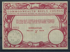 GIBRALTAR Early Type IX Commonwealth Reply Coupon Reponse Antwortschein IRC  3d.  O GIBRALTAR MONEY ORDERS 10.07.59