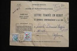 Taxe Fleurs 0.80 Sur Enveloppe Rebuts Guyanne Cayenne 22/3/1967