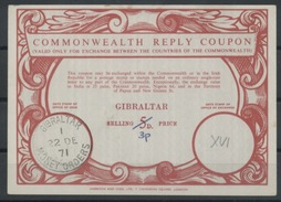 GIBRALTAR Type XVI  Commonwealth Reply Coupon Reponse Antwortschein IRC Ms 3p / 5D O GIBRALTAR MONEY ORDERS 22.12.71