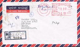 Sri Lanka 1981 Postal Cover Colombo - Berne (Switzerland) - Meter Stamp - Sri Lanka (Ceylan) (1948-...)
