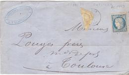 Faux Affranchissement  Provisoire De 25 Centimes De Septembre 1871 Avec Faux Tp N°36 Coupé En Diagonale.52 Eurville. - 1870 Siège De Paris