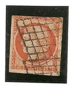 France N° 5 , 40  Centimes Touché A Un Filet Oblitération Grille - 1849-1850 Ceres