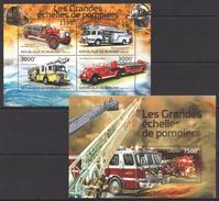A176 2012 BURUNDI FIRE TRUCKS LES GRANDES ECHELLES DE POMPIERS 1KB+1BL MNH