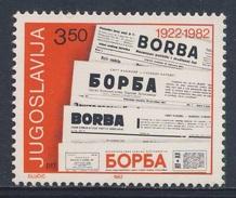 "Jugoslavija Yugoslavia 1982 Mi 1917 YT 1803 ** Mastheads Newspaper ""Borba"" / 60 Jahre Zeitung / Journal - Talen"