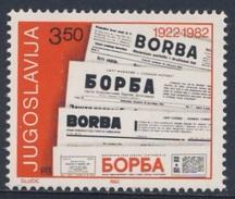 "Jugoslavija Yugoslavia 1982 Mi 1917 YT 1803 ** Mastheads Newspaper ""Borba"" / 60 Jahre Zeitung / Journal - Ongebruikt"