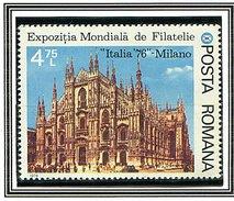 "(CL. 98 Bis) Roumanie ** N° 2991 - ""Italia 76"" Expo Philat. - Cathédrale De Milan -"