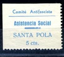 España Guerra Civil Viñeta SANTA POLA  Comite Antifascista Asistencia Social   5 Cts.azul  GG 1198   R  **   V171.1 - Vignettes De La Guerre Civile