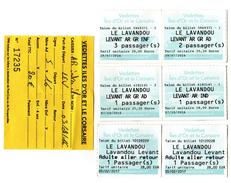 Lot De 7 Billets Tickets Vedettes Iles D'Or Et Le Corsaire ILE DU LEVANT LAVANDOU Var 2016 2017 - Billets D'embarquement De Bateau