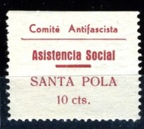 España Guerra Civil Viñeta SANTA POLA  Comite Antifascista Asistencia Social   10Cts.  GG 1200   R  **   V171.3 - Vignettes De La Guerre Civile
