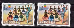 Andorre Espagnol  76 Variété Timbre Rose Ciel Costumes Et Bleu  Neuf ** MNH Sin Charmela