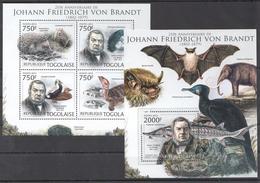 B88 2012 TOGOLAISE FAUNA ANIMALS JOHANN FRIEDRICH VON BRANDT 1KB+1BL MNH