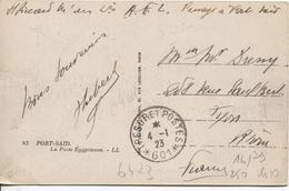 TP Egypt Port-Said General Post Office Militaire A.F.L. Passage à Port-Said C.Trésors&Postes 4/1/1923(601)v.Lyon PR4076
