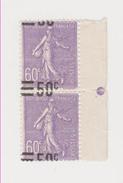 TIMBRE De France N°223 En Paire Verticale Surcharge Très Déplacée Avec Bord De Feuille - Neuf Avec Charnière - 1903-60 Semeuse Lignée