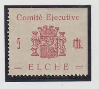 España Guerra Civil Viñeta ELCHE Comité Ejecutivo   5Cts.  GG 502  R  *   V172.1 - Vignettes De La Guerre Civile