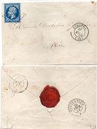 Enveloppe Adressée De VENDOME A MER En 1859 - PC 3515 Sur Yvert 14 - Cachet De Cire  (95477)
