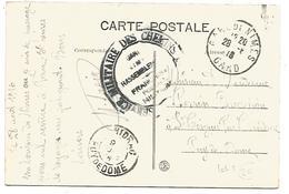 CACHET SERVICE MILITAIRE DES CHEMINS DE FER - GARE DE NIMES RASSEMBLEMENT1916
