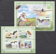 B98 2011 TOGOLAISE FAUNA INSECTS BIRDS LES EFFETS L'ENVIRONNEMENT KB+BL MNH