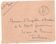 GARONNE / Haute - Dépt N° 31 = NAILLOUX 1960 = CACHET MANUEL A8  + FRANCHISE
