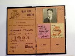 Carte De Membre V.C.B. (Véloce Club Brestois) 1924 - Tennis