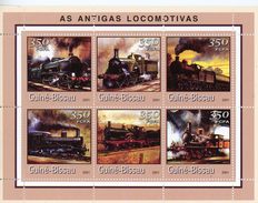 Guinée Bissau-2001-Anciennes Locomotives-1031 FEUILLET***MNH