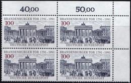 "BRD, 1991 Nr. 1492 **,  Viererblock Mit ER Oben Rechts, ""Brandenburger Tor, Berlin"""