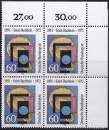 "BRD, 1991 Nr. 1493 **,  Viererblock Mit ER Oben Rechts, ""Erich Buchholz"""