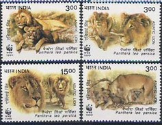 MDW-BK1-062 MDA MINT PF/MNH ¤ INDIA 1999 4w In Serie ¤ WWF - WILD ANIMALS LIONS - ENDANGERED ANIMALS
