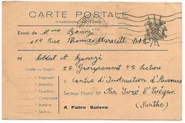 CARTE EN FRANCHISE ECRITE 1939