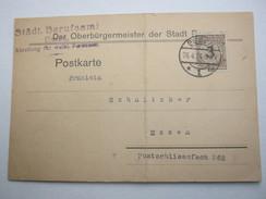 "1924 , Essen , Karte Mit Firmenlochung ""E"" , Perfin"