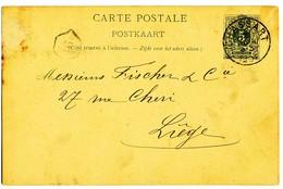 1891 CARTE POSTALE TYPE OBP45 VAN CHASSART NAAR LIEGE AANKOMSTSTEMPEL+FIRMA OPRUK VERSO - Entiers Postaux