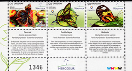 Uruguay - 2016 - Mercosur - Butterflies Of Uruguay - Mint Stamp Set With Tabs