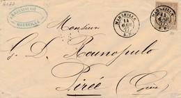 Enveloppe Avec 30 C Sage Obl Marseille BM Pour La Grèce Signée Calves TTB.