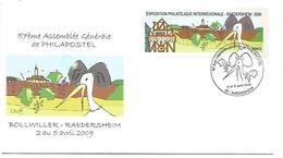 OBLITERATION COMMEMORATIVE ASSEMBLEE GENERALE PHILAPOSTEL à RAEDERSHEIM (HAUT RHIN) 2009