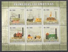 A198 2007 S.TOME E PRINCIPE TRAINS PRIMEIRAS LOCOMOTIVAS 1KB MNH